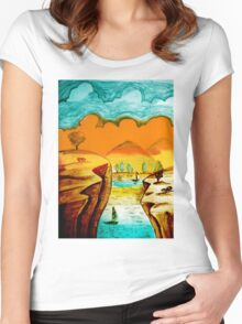 Hand Drawn Landscape Women's Fitted Scoop T-Shirt