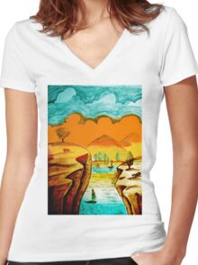 Hand Drawn Landscape Women's Fitted V-Neck T-Shirt