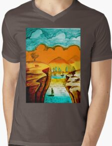 Hand Drawn Landscape Mens V-Neck T-Shirt