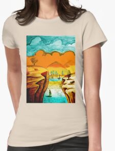 Hand Drawn Landscape Womens Fitted T-Shirt