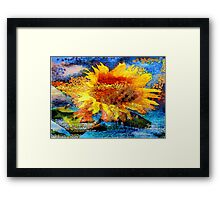 Textured orange  Sunflower Framed Print
