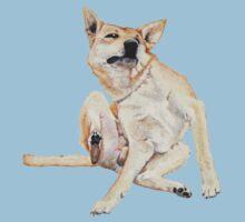 Cute funny germman shepherd cross breed dog scratching art  One Piece - Short Sleeve