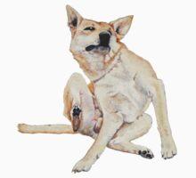 Cute funny germman shepherd cross breed dog scratching art  Kids Clothes