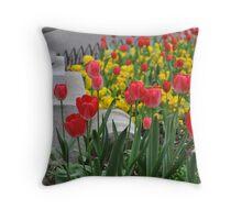 Tiptoe through the tulips. Throw Pillow