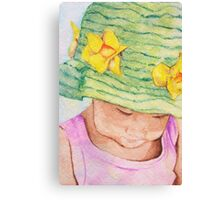 Girl in Big Hat Canvas Print