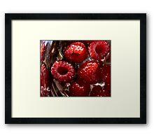 Raspberries Awash In Silver Bowl Framed Print