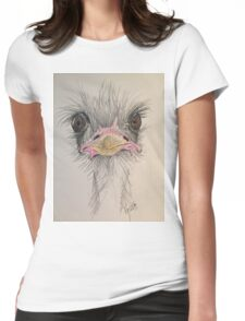 Goofy Angry Ostrich  Womens Fitted T-Shirt