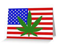 USA flag with a hemp leaf Greeting Card