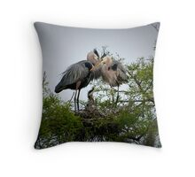 Great Blue Herons Feeding Their Young Throw Pillow