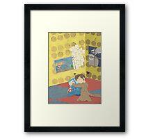 The Doctor Hugging a Tardis in color Framed Print