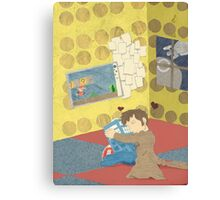 The Doctor Hugging a Tardis in color Canvas Print