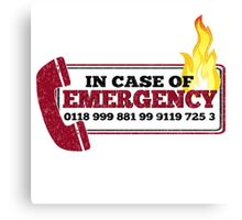 It Crowd Inspired - New Emergency Number - 0118 999 881 99 9119 725 3 - Moss and the Fire Canvas Print
