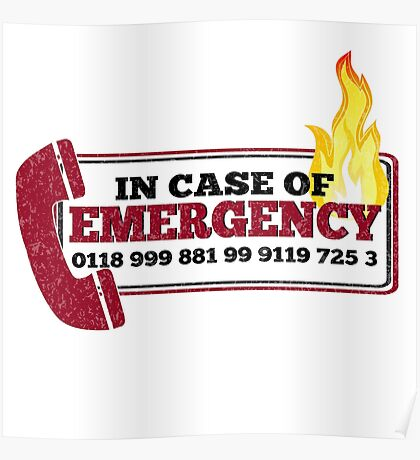 It Crowd Inspired - New Emergency Number - 0118 999 881 99 9119 725 3 - Moss and the Fire Poster