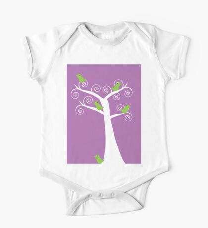 5 Birds and a tree (purple background) Kids Clothes
