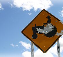 Farmer Crossing Sign Shot out by PhotoCrazy6