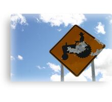 Farmer Crossing Sign Shot out Canvas Print