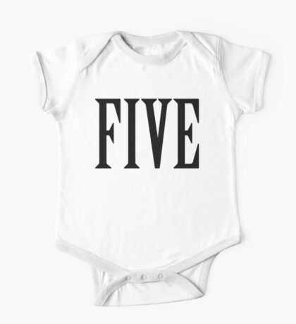 5, FIVE, NUMBER 5, FIFTH, TEAM SPORTS, Competition, BLACK One Piece - Short Sleeve