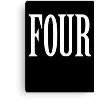 FOUR, 4, TEAM SPORTS, NUMBER 4, FOURTH, Competition, WHITE Canvas Print