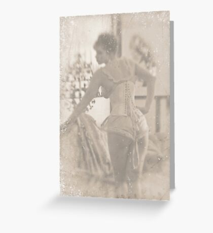 ~ woman in laced corset ~ Greeting Card