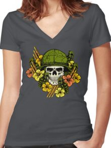 Tropical Print (Military Edition) Women's Fitted V-Neck T-Shirt