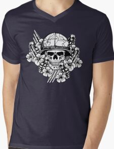 Tropical Print (Military Edition) BW Mens V-Neck T-Shirt