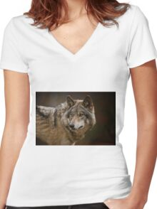 Timber Wolf Women's Fitted V-Neck T-Shirt