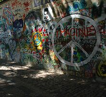 John Lennon Peace Wall, Prague by Chas Fullerton