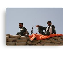 Two Afghan soldiers at war Canvas Print