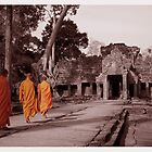 Monks prosession at Preah khan Temple by kimle