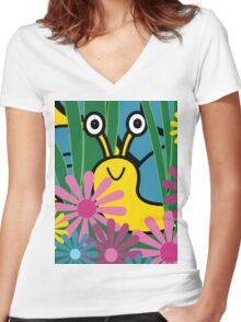 Boo! Snail Women's Fitted V-Neck T-Shirt