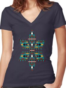 Navajo Teal Pattern Women's Fitted V-Neck T-Shirt