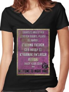 WELCOME TO NIGHT VALE PSA Women's Fitted V-Neck T-Shirt