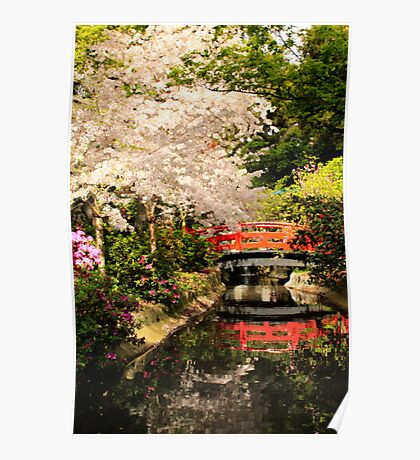 Red Bridge Reflection Poster
