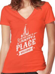 Magic Kingdom - Walt's Happy Place Women's Fitted V-Neck T-Shirt