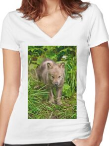 Timber Wolf Pup Women's Fitted V-Neck T-Shirt