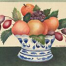 """""""Fruit in blue and white bowl"""". Velvet painting by Mary Taylor"""