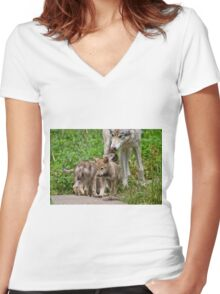 Timber Wolf And Pups Women's Fitted V-Neck T-Shirt