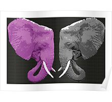 Pink and Grey Elephants Poster