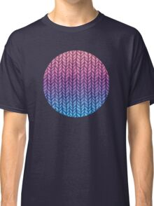 Chunky Knit Pattern in Pink, Blue & Purple Classic T-Shirt