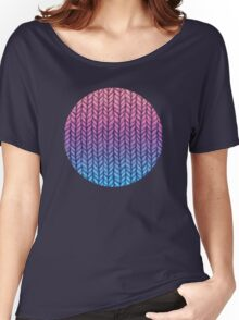 Chunky Knit Pattern in Pink, Blue & Purple Women's Relaxed Fit T-Shirt