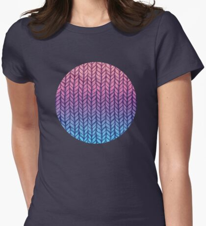 Chunky Knit Pattern in Pink, Blue & Purple Womens Fitted T-Shirt