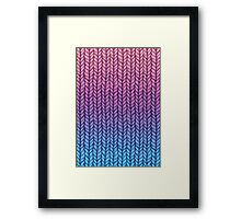 Chunky Knit Pattern in Pink, Blue & Purple Framed Print