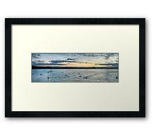 Sunset Surfers Byron Bay Framed Print
