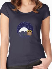 Night Owl - Circle Design Women's Fitted Scoop T-Shirt