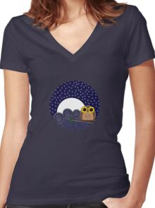 Night Owl - Circle Design Women's Fitted V-Neck T-Shirt