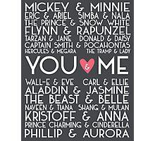 Disney Couples + You & Me Photographic Print