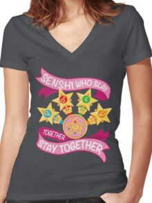 Slay Together, Stay Together - Sailor Scouts Clean Women's Fitted V-Neck T-Shirt