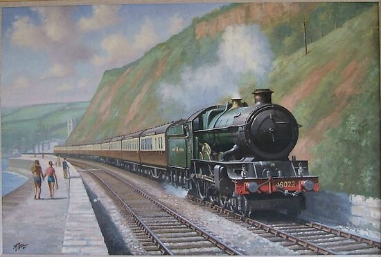GWR King Edward II on the sea wall. by Mike Jeffries