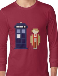 Pixel 5th Doctor and TARDIS Long Sleeve T-Shirt