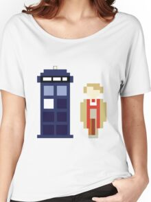 Pixel 5th Doctor and TARDIS Women's Relaxed Fit T-Shirt
